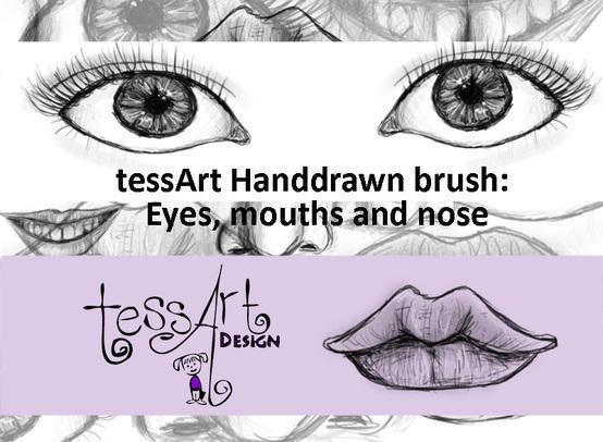 tessArt Handdrawn Eyes Mouths and Nose brush Photoshop brush