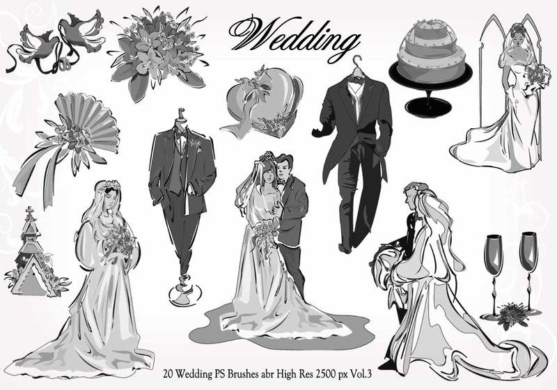 20 Wedding PS Brushes abr  vol.3 Photoshop brush