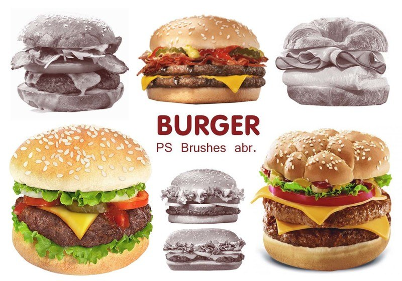 20 Burger PS Brushes abr. vol.4 Photoshop brush