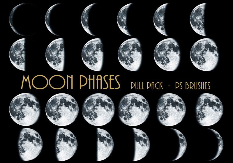 26 Moon Phases Ps Brushes abr Vol.5 Photoshop brush
