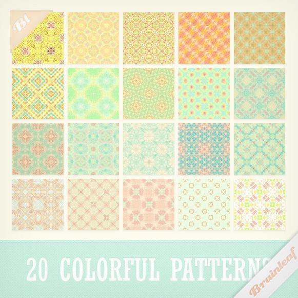 Sweet Colorful Patterns Set Photoshop brush