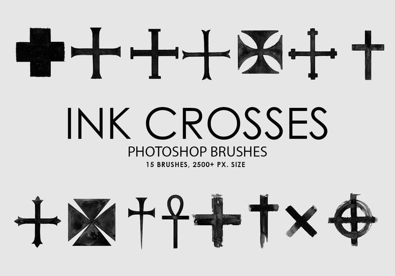Free Ink Crosses Photoshop Brushes Photoshop brush