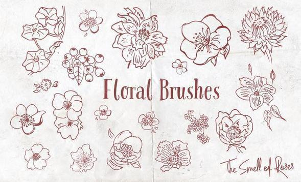 Floral Brushes - The Smell of Roses Photoshop brush