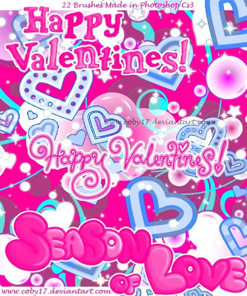 Love Glitters and Hearts Photoshop brush