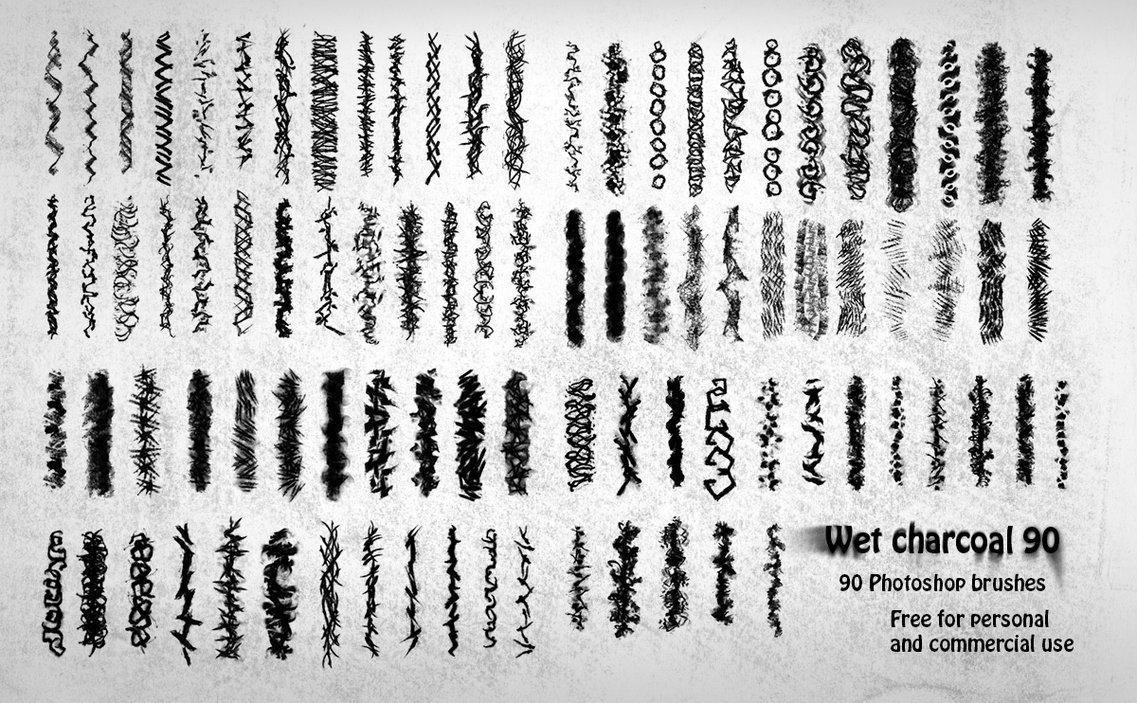 90 Wet Charcoal Photoshop Brushes Photoshop brush