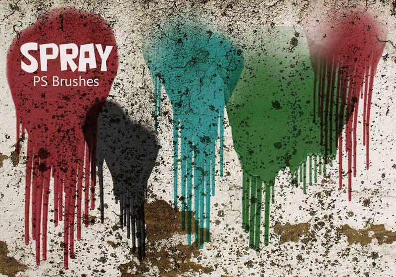 20 Spray Wet Drips PS Brushes Vol.11 Photoshop brush