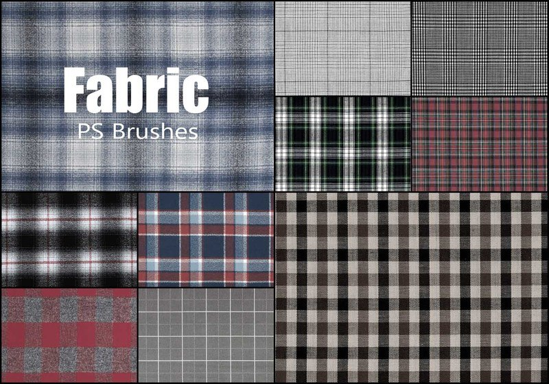 20 Fabric Plaid Texture PS Brushes abr.vol.18 Photoshop brush