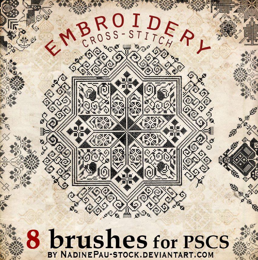 Embroidery a cross-stitch  Photoshop brush