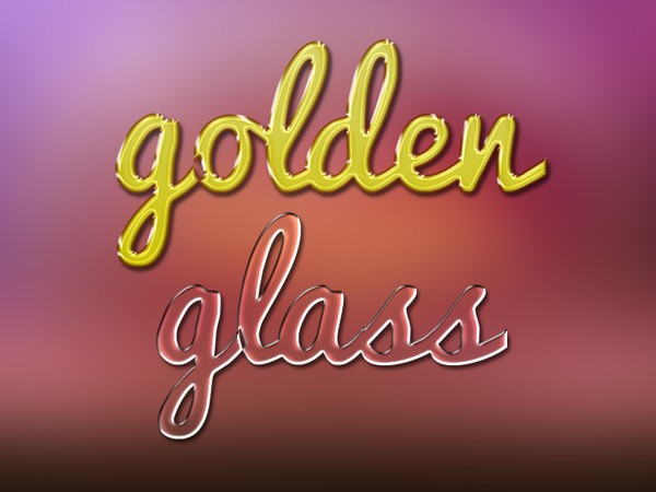 Gold and glass text effects Photoshop brush