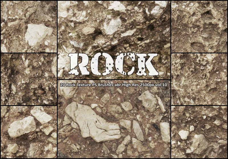 20 Rock Texture PS Brushes abr vol.10 Photoshop brush