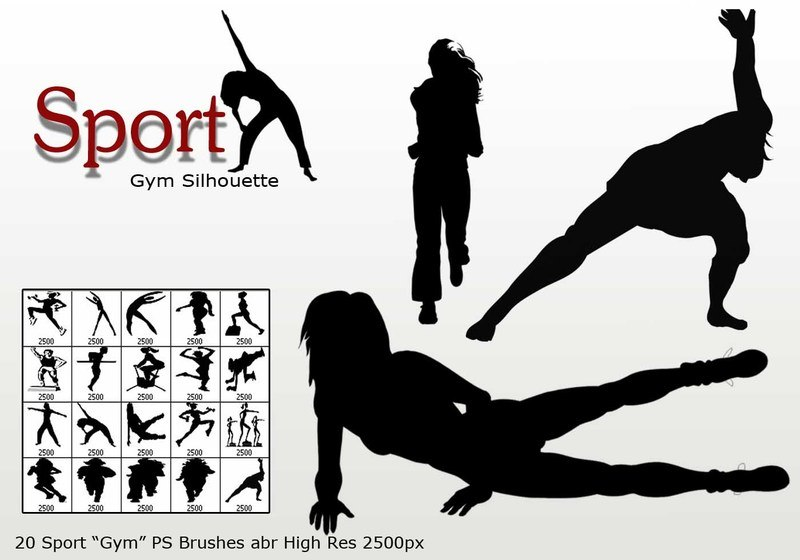 "Sport ""Gym Silhouette"" PS Brushes abr Photoshop brush"