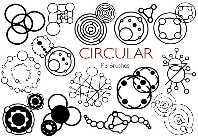 20 Circular PS Brushes abr. Vol.2 Photoshop brush