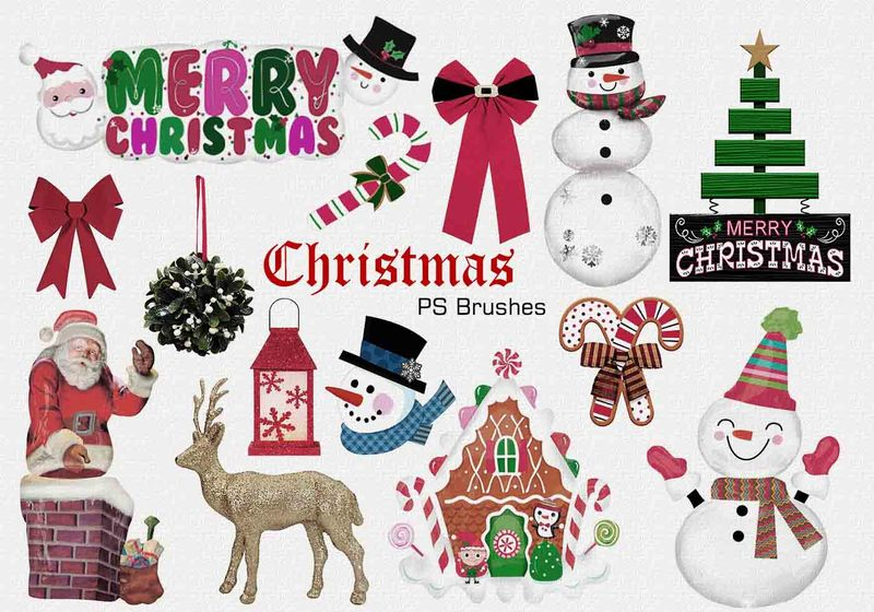 20 Christmas PS Brushes abr. Vol.3 Photoshop brush