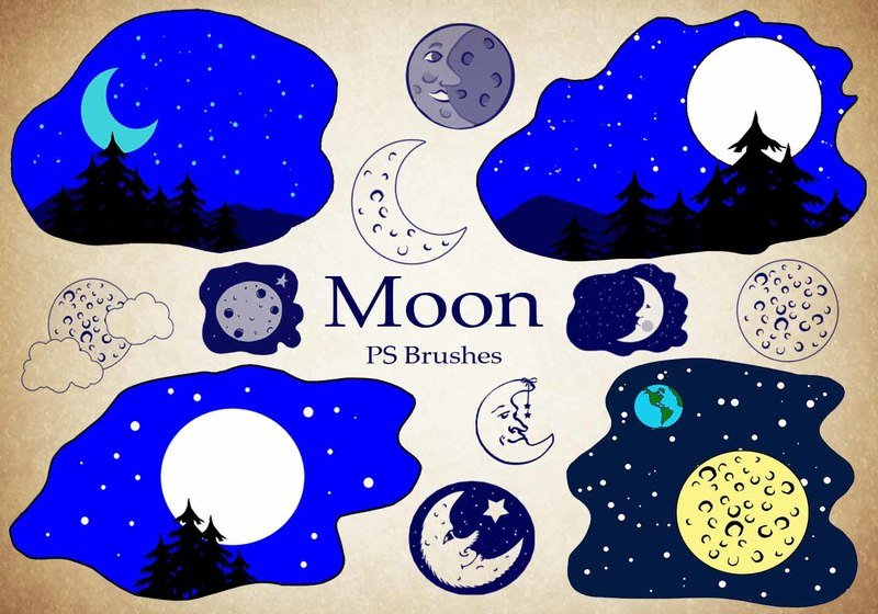 20 Moon Ps Brushes abr vol.4 Photoshop brush
