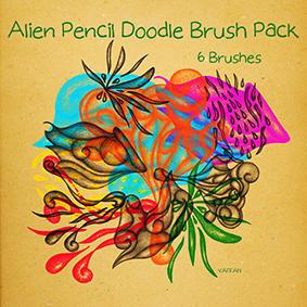 Alien Pencil Doodle Brush Pack  Photoshop brush