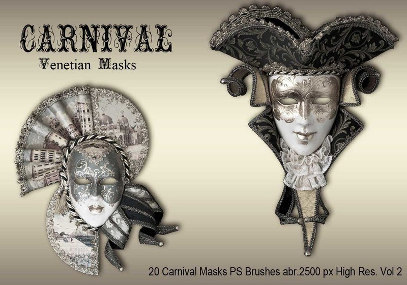 20 Carnival Masks PS Brushes abr.vol.2 Photoshop brush