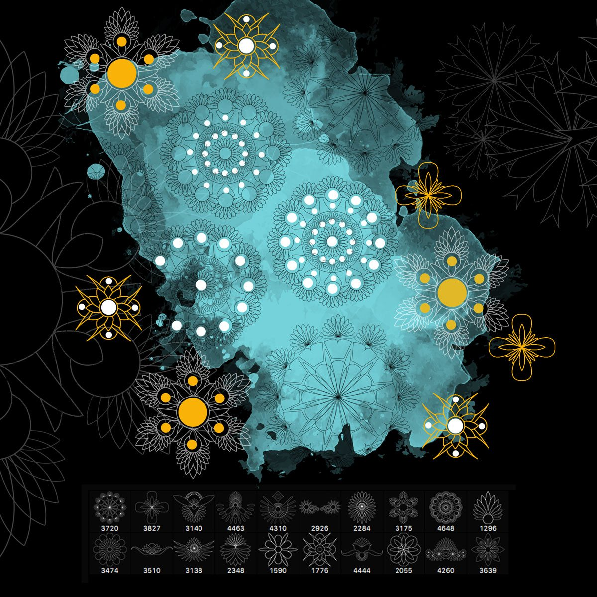 20 Abstract Ornaments Brushes Photoshop brush