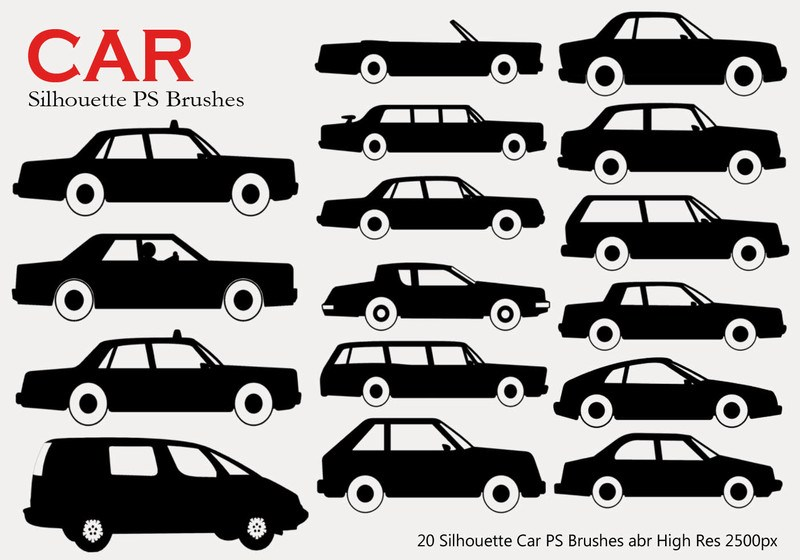 20 Car Silhouette PS Brushes Photoshop brush