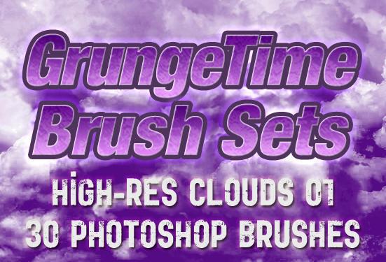 GrungeTime - 30 Hi-Res Cloud Brushes Photoshop brush