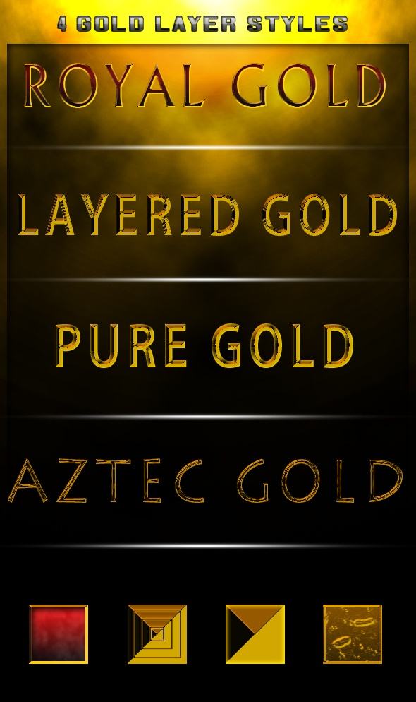 4 Gold Styles Photoshop brush
