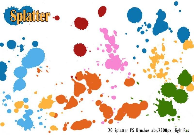 20 Splatter PS Brushes abr.vol.1 Photoshop brush
