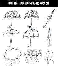Umbrellas Rain Drops Doodles Brush Set  Photoshop brush