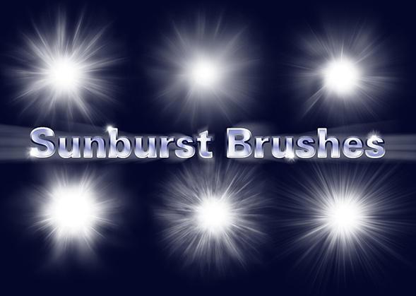 6 Sunburst Brushes Photoshop brush