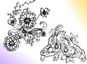 Sketchy Decorative Floral Ornament Brushes Photoshop brush