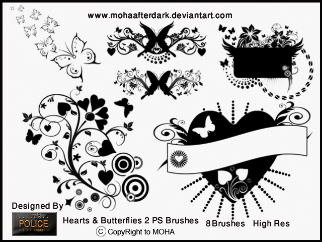 Hearts and Butterflies 2 Photoshop brush