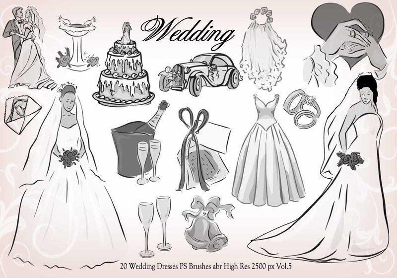 20 Wedding PS Brushes abr vol.5 Photoshop brush