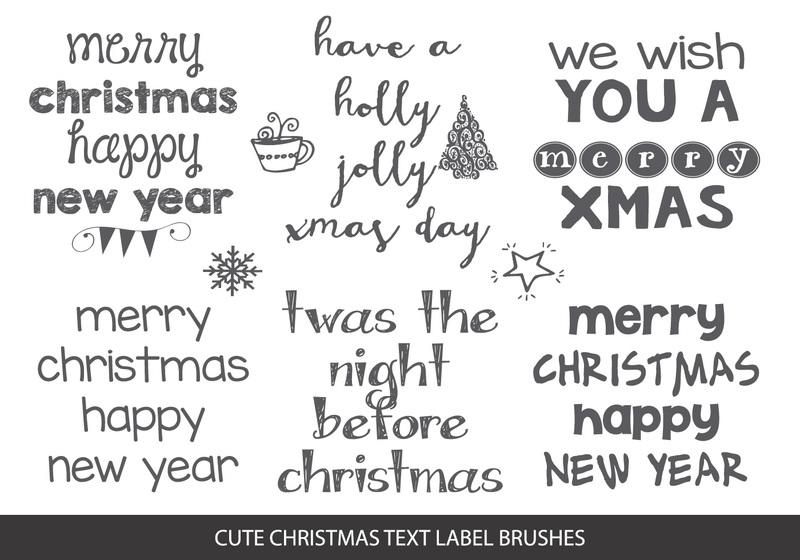 Sketchy Christmas Text Label Brushes Photoshop brush
