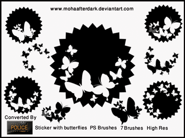 Sticker with butterflies Photoshop brush
