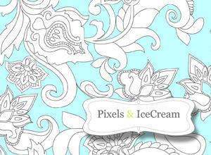 Pixels & IceCream FlowersFirst Photoshop brush
