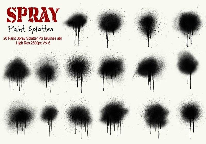 20 Paint Spray Splatter PS Brushes Vol.6 Photoshop brush