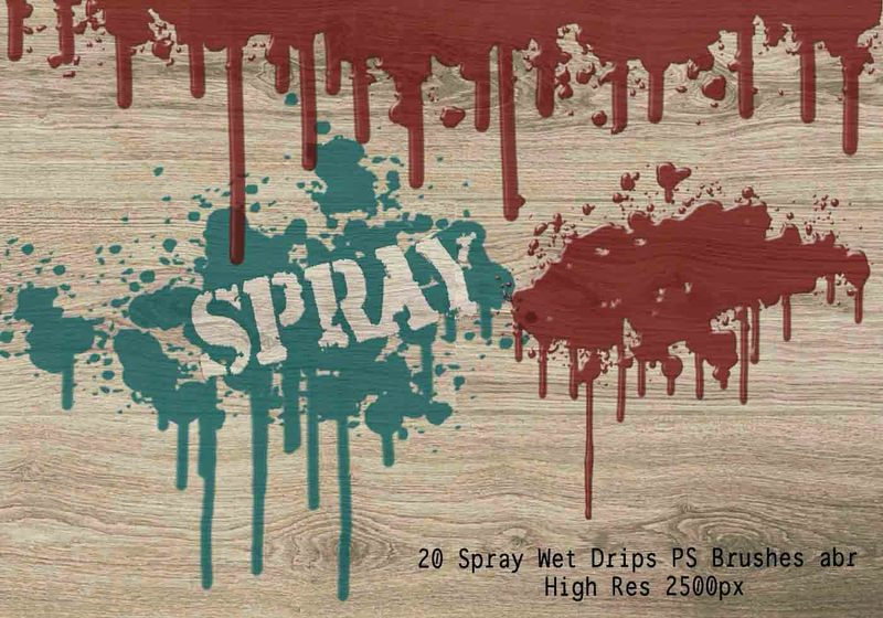 20 Spray Wet Drips PS Brushes Vol.8 Photoshop brush