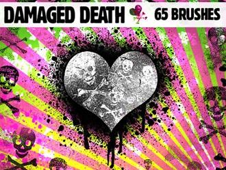 Damaged Death Skulls Photoshop brush