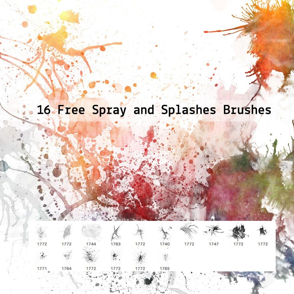 16 Free Spray and Splashes Brushes Photoshop brush