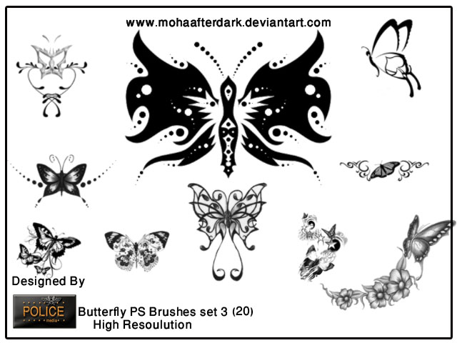 Butterfly Brushes Set 3 Photoshop brush
