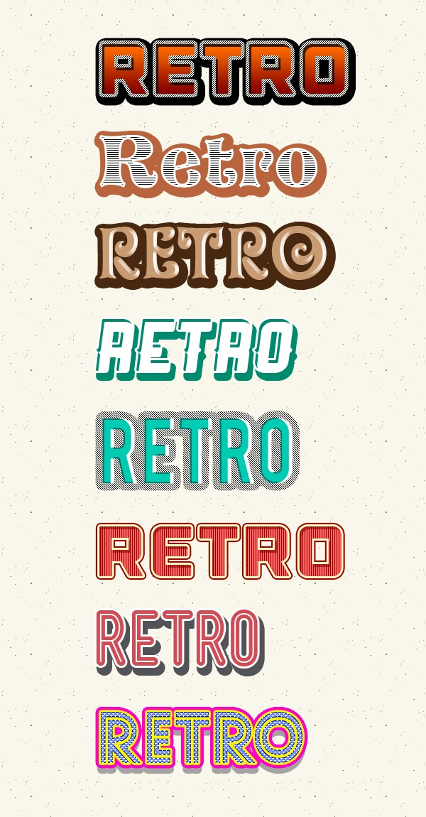 Photoshop retro text styles Photoshop brush