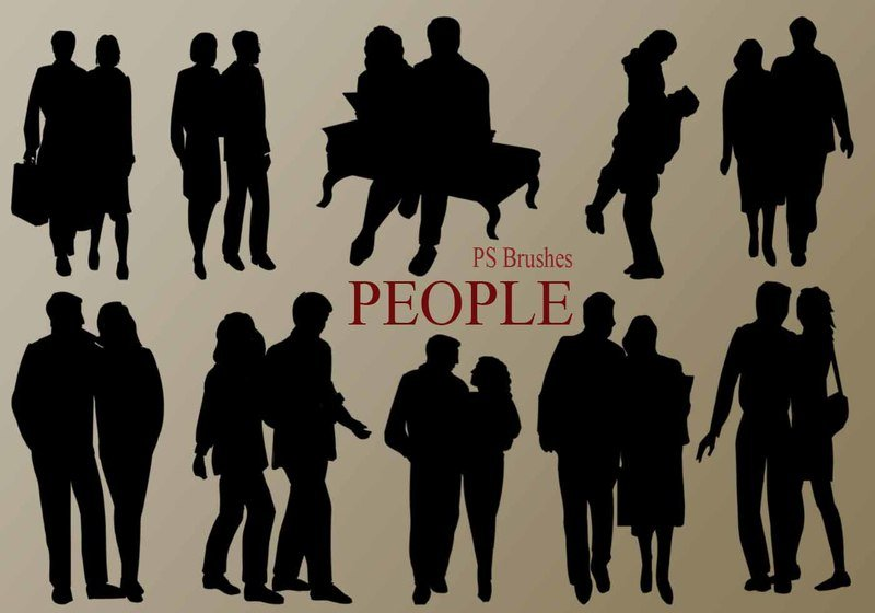20 People Silhouette PS Brushes vol.5 Photoshop brush