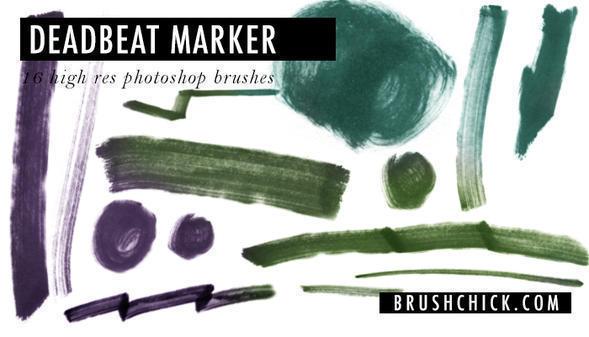 """Free Photoshop Marker Brushes #24 – """"Deadbeat Marker"""" Photoshop brush"""