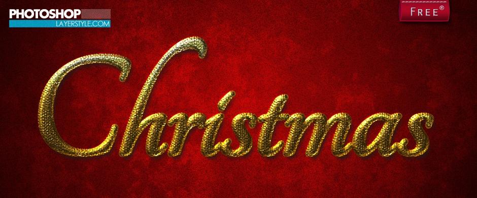 Gold Christmas layer style Photoshop brush