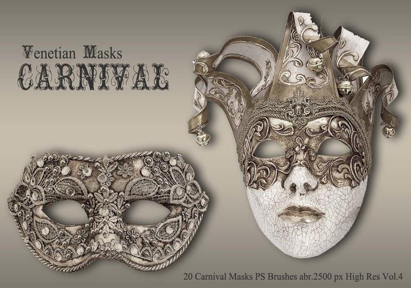 20 Carnival Masks PS Brushes abr.vol.4 Photoshop brush