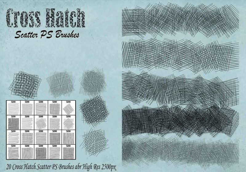 Cross Hatch Scatter PS Brushes abr. Photoshop brush