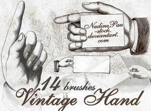 Vintage hands Photoshop brush
