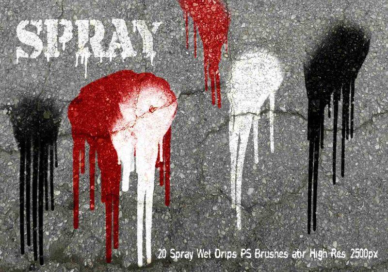 20 Spray Wet Drips PS Brushes Vol.9 Photoshop brush