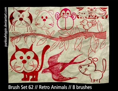 Retro Animals Photoshop brush