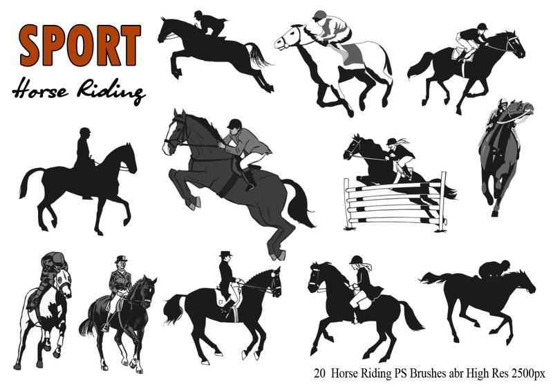 20 Horse Riding  Ps Brushes abr.  Photoshop brush