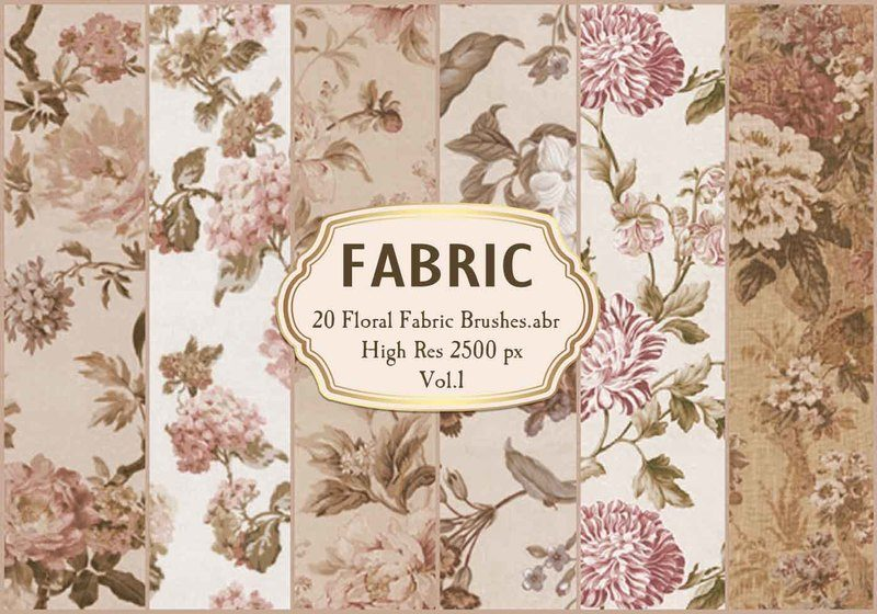 20 Floral Fabric Brushes.abr  Vol.1 Photoshop brush