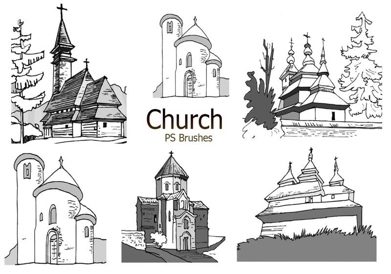 20 Sketch Church PS Brushes abr. vol.4 Photoshop brush
